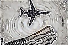 Dreamt of a Flag (sjrankin) Tags: plane airplane edited jet bomber usaf processed usflag filtered unitedstatesairforce b1b 20april2016