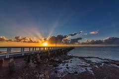 ANZAC Dawn (g0rsty) Tags: sun clouds sunrise dawn pier sunbeams wellingtonpoint sunsetsandsunrisesgold cloudsstormssunsetssunrises