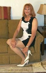 Black n White Dress (bobbievnc) Tags: pumps highheels dress longhair tgirl heels redhair pantyhose crossdresser sittingpretty blackdress whitedress tightskirt shortdress tanpantyhose pantyhoselegs