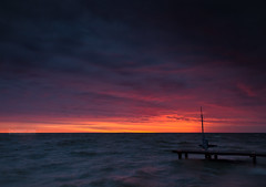Scully Beach Park Sunrise (Cale Best Photography) Tags: ca morning light lake ontario canada color colour nature water weather clouds sunrise dawn spring dock waves windy windsor rough lakestclair tecumseh landscapephotography