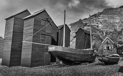 Hastings Fishermans Huts (TD2112) Tags: wood england blackandwhite beach sussex mono coast fishing hastings oldtown fishermanshuts