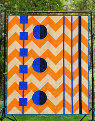 Chevrons Revisited - Sixlets (Quiltachusetts - Heather Black) Tags: blue orange black geometric modern circle walking square foot triangle quilt path contemporary navy tan solids quilting half curve curved chevron minimalist drunkard hst piecing