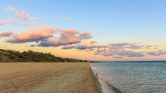 Sunset Colours in the Clouds (andrewOZimages) Tags: sunset sea beach water clouds outside outdoors coast sand coastline scapes portphillipbay