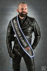 Mr. Leather Europe 2015 (Thorsten) (WF portraits) Tags: portrait hairy man black male leather studio beard sash aut gayleather mrleather mrleathereurope