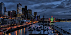 Bell Harbor Marina and Seattle Waterfront at Dusk (Wambo Jambo) Tags: seattle nightphotography seattlewaterfront thebigwheel bellharbormarina bruceikenberry aurorahdr