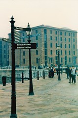 The New Albert Dock (brightondj - getting the most from a cheap compact) Tags: sign liverpool liverpooldocks scan scanned pentaxmesuper albertdock olddocks