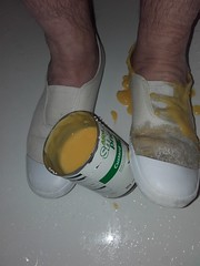 White Slip-on plimsolls trashed with custard (eurimcoplimsoll) Tags: white trash shoes pumps sneakers trainers bin canvas messy custard gym slippers gymnasium trashed elastic gunge slipon plimsolls daps toecaps gunged binned plimsoles