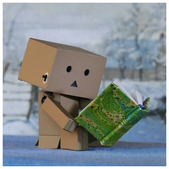 Books wash away from the soul the dust of everyday life - Danbo (steffi's) Tags: japan toy manga merchandise spielzeug figur yotsuba danbo wellpappe objectphotography danbooru indooractivities danboard kiyohikoazuma   kartonmnnchen danb kartonschachtelroboter
