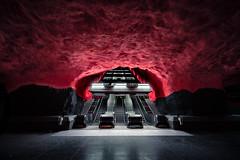 Smoky (Panda1339) Tags: light red architecture modern sweden stockholm cave metrostation solnacentrum