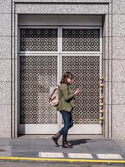 (chucknado) Tags: sanfrancisco door pattern phone pedestrian sidewalk