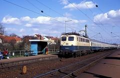 110 163  Illingen  28.03.91 (w. + h. brutzer) Tags: analog train germany deutschland nikon 110 eisenbahn railway zug trains db locomotive lokomotive e10 elok eisenbahnen illingen eloks webru
