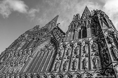 Lichfield Cathedral 3 Ways (anniew69) Tags: bw cloud building texture church blackwhite nikon december cross cathedral stainedglass steeple spire hdr highdynamicrange hdri lichfield edifice edifices churchspire placeofworship lichfieldcathedral 2015 blithfield photomatix religiousbuilding photographytechnique d7000 anniewilcox wwwanniewilcoxcouk