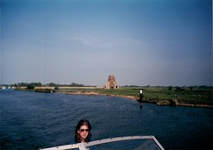 Cruising past St Bennedict's Abbey (flowerpotman!) Tags: holiday abbey st river boat norfolk 1998 chet broads yare bennedicts