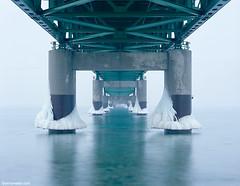 mighty mack (vinnywalsh.com) Tags: snow ice landscapes lakemichigan velvia transparency fujifilm upnorth upperpeninsula largeformat lakehuron viewcamera straitsofmackinac mackinawbridge mackinawcity puremichigan vinnywalshcom