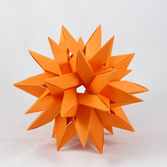Six Intersecting Pentagrams (SIP) (Michał Kosmulski) Tags: orange origami modular tangle wireframe unit sip robertjlang shishapangma jaredneedle tantpaper polypolyhedron francescomancini sixintersectingpentagrams leongchengchit wovenpolyhedron michałkosmulski