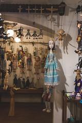 Blue Doll Puppet of Marionety Truhl, St Charles Bridge, Karlv Most, Prague, Czech Republic (Kris McNeil) Tags: bridge blue st river doll republic czech prague puppet charles most puppets vltava marionette karlv marionety truhl