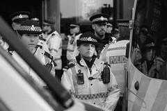 Police Line (the underlord) Tags: street slr film liverpool protest streetphotography police nikonf100 demonstration vehicle streetphoto van limestreet antifascist merseyside ilfordfp4 kodakd76 nikkor35afd