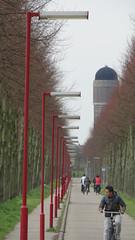 Red light district (sander_sloots) Tags: cyclist zoetermeer bikelane redlightdistrict rokkeveen fietspad lampposts rij fietser lampadaires lantaarnpalen