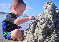Sand castle design (Scott SM) Tags: ocean new old portrait castle beach sand toddler waves play florida 23 build month smyrna concentrate