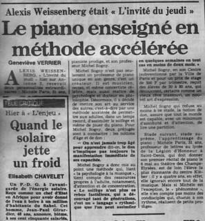 MICHEL SOGNY PRESSE  FRANCE SOIR 18 AVRIL 1980