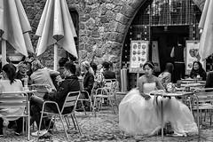 The Runaway Bride (Culture Shlock) Tags: street wedding girls people bride cafe women escape brides weddings cafes closecall runawaybride jilted jilt