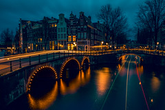 (angheloflores) Tags: bridge houses sky urban holland water colors amsterdam night clouds reflections lights canal trails explore keizersgracht
