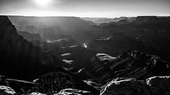 Sunset at the Grand Canyon - Arizona, United States - Landscape photography (Giuseppe Milo (www.pixael.com)) Tags: travel light sunset arizona sky blackandwhite bw cliff usa white mountain black monochrome backlight clouds contrast river landscape geotagged photography photo colorado rocks fuji unitedstates hiking grandcanyon canyon hike fujifilm onsale 18mm fujix xt10 fuji18mm fujixt10