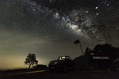 The summer Milky Way rises above a car, Chiang Mai, Thailand (Alongkot.S) Tags: trees sky night landscape star space hill science clear observatory telescope galaxy nebula astronomy universe constellation milkyway