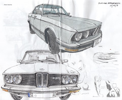 BMW 520i (E28) / BMW 520 (E12) (Flaf) Tags: colour water car pen ink vintage drawing 5 voiture bmw series florian siegen 520 freie 5er e28 flaf e12 520i afflerbach zeichnerei
