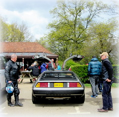 attracting  an audience # 2 (John(cardwellpix)) Tags: uk corner audience sunday an surrey april 12 guildford delorean 24th newlands dmc albury 2016 merrow attracting