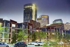 Urban feel Calgary (John Andersen (JPAndersen images)) Tags: city calgary skyline night aurora