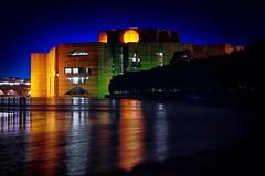 National Parliament House (qrstanvir) Tags: longexposure house reflection water colors night canon dark lens landscape 50mm prime lights nightscape parliament structure national dhaka scape bangladesh 700d prime50