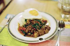 Khao Kra Prao Ped Yang (iheresss) Tags: slr film thailand cuisine 50mm duck rice kodak bangkok f14 holy thai basil filmcamera nikkor grilled nikonf manualcamera gold200 negativefilm manuallens 135film