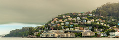 The Hills of Sausalito (Rohit KC Photography) Tags: california ca houses homes sea sky color water canon landscape seaside colorful waves cloudy edited wide hills panaroma canon24105f4l canon5dmarkii