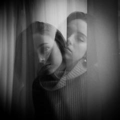 . (Sandy Phimester) Tags: portrait 6x6 film analog holga doubleexposure grain delta3200 ilford