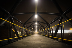 Foggy passage (tmkkzk) Tags: uk england misty fog architecture point manchester foggy symmetrical passage vanishing castlefield deansgate