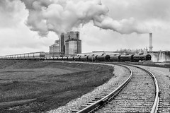 Follow the tracks (dshoning) Tags: railroad cloudy smoke tracks overcast business agribusiness