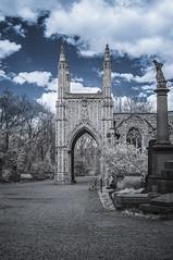 Nunhead Cemetery (blackwoodse6) Tags: uk blue trees england sky white london cemetery graveyard leaves clouds ir nikon chapel infrared foilage southlondon southwark nunhead falsecolour southeastlondon nunheadcemetery se15 londoncemeteries 720nm londonboroughofsouthwark infraredphotogaphy