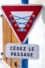 Give Way - Brittany 2016-5005 (Ruth Flickr) Tags: streetart france art sign easter coast spring triangle brittany europe humour corset roadsign giveway breton guerrilla 2016 pontcroix finistre