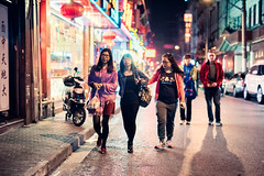 Down a Side Street (Jon Siegel) Tags: china street girls shadow people men boys night walking 50mm evening nikon women colorful neon shadows shanghai candid 14 crowd chinese sigma busy lanterns d810 sigma50mmf14art