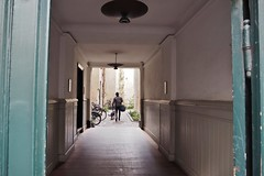 view into the backyard (juliemfriedl) Tags: city light architecture alley backyard streetphotography bikes streetphoto lamps urbanlifestyle