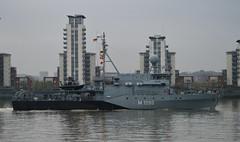 FGS Pegnitz M1090 (6) @ Gallions Reach 15-04-16 (AJBC_1) Tags: uk england london boat ship unitedkingdom military navy vessel riverthames nato warship minesweeper eastlondon gallionsreach mcv nikond3200 northwoolwich newham germannavy navalvessel londonboroughofnewham deutschemarine minehunter m1098 m1090 3minensuchgeschwader ensdorfclassminesweeper dlrblog ©ajc bundeswehrnavy fgspegnitz 3rdgermanminesweepingsquadron