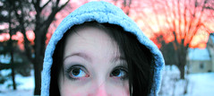 DSC_1678sunseteyesLMB (lauren_michelle_byckowski) Tags: trees winter sunset portrait people selfportrait snow eyes colorful wintersunset bright branches pale wintery