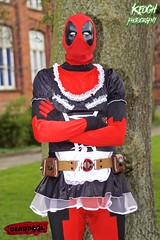IMG_8806 (Neil Keogh Photography) Tags: red brown white black male gun dress mask boots cosplay coat skirt gloves cosplayer bodysuit marvelcomics utilitybelt deadpool frenchmaidsoutfit nwcosplaymeet2016
