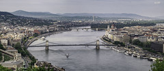 Budapest and the Danube (hauxon) Tags: city bridge buildings river boats downtown hungary cityscape budapest parliament danube chainbridge szchenyilnchd fujifilmxt1 fujifilmxf100400mmf4556oiswr