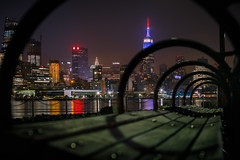 Spiral Skyline (c_slavik) Tags: new york city building skyline night bench point spiral long exposure cityscape view state pov perspective empire