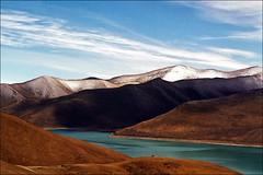Yamdrok Tso (Turquoise) Lake, Tibet (Katarina 2353) Tags: china lake mountains film landscape spring nikon asia turquoise tibet himalayas yamdroktso tibetanlandscape katarinastefanovic katarina2353