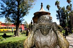 017 Water-carrier sculpture on sidewalk beside La Caja de Agua park area, San Luis Potosi (davidvictor513) Tags: mexico unescoworldheritagesite sanluispotosi