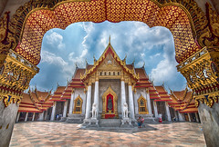 Marble Temple (Roshana Prasad) Tags: people white black streets thailand dance nikon bangkok culture kingdom buddhism monks d750 niramit