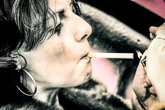 Smoke (v_rijswijk) Tags: street city ladies girls portrait people woman colour sexy love colors girl closeup lady walking graffiti model women colorful colours colorfull streetphotography posed posing eindhoven spray colourful sexual lovely portret modelling vrouw gezicht berenkuil